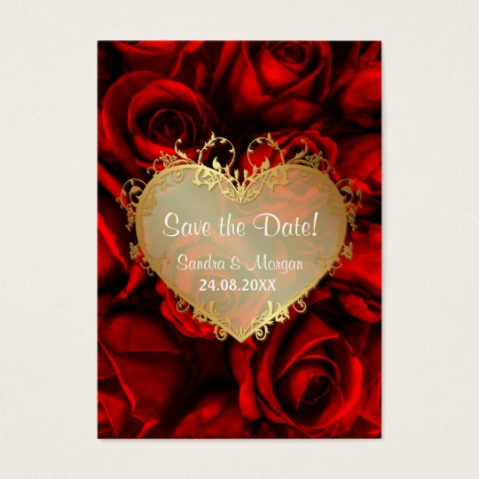 Red Rose Floral Wedding Save the Date Business Card