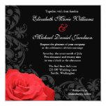 Red Rose Flourish Wedding 13 Cm X 13 Cm Square Invitation Card