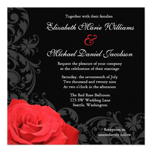 Red Rose Flourish Wedding Announcements