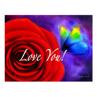 Red Rose Flower Butterfly Painting - Multi Postcard