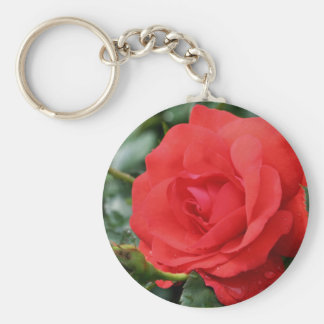 Red Rose Flower Photography Keychain