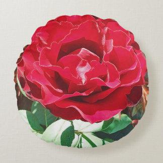Red Rose Flower Round Cushion