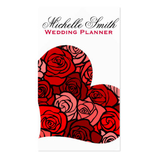 Red rose Flowers heart  florists wedding planner Pack Of Standard Business Cards