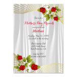 Red Rose Flowers with Gold Accents Template 13 Cm X 18 Cm Invitation Card
