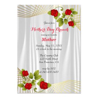Red Rose Flowers with Gold Accents Template Card