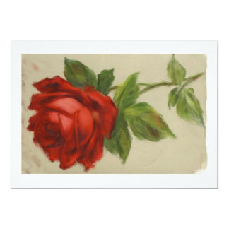 Red Rose for a Blue Lady 13 Cm X 18 Cm Invitation Card