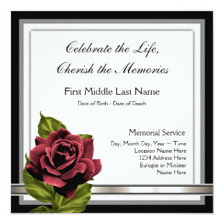 Red Rose Funeral Announcement