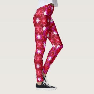 Red Rose Geometric Leggings