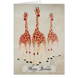 Red Rose Giraffes  Birthday  Card
