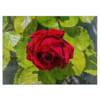Red rose glass cutting board