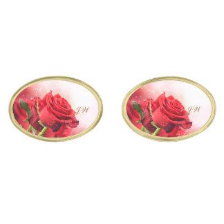 Red Rose Gold Cuff Links-w/Monogram Gold Finish Cufflinks