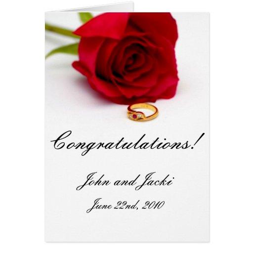 Red Rose & Gold Diamond Ring Greeting Cards