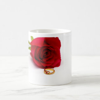 Red Rose & Gold Diamond Ring Coffee Mug