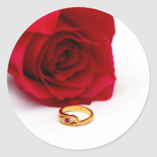 Red Rose & Gold Diamond Ring Sticker