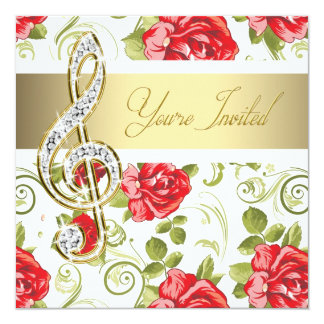 """Red Rose Gold Treble Clef Recital Invitation 5.25"""" Square Invitation Card"""