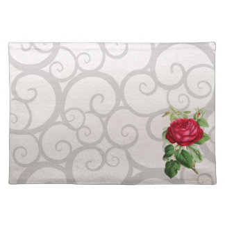 Red rose grey curls placemat