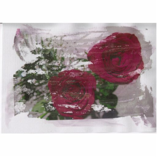 Red rose grunged original design photo cutout