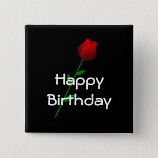 "Red Rose ""Happy Birthday"" 15 Cm Square Badge"