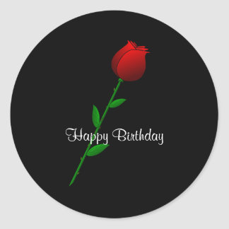 "Red Rose ""Happy Birthday"" Classic Round Sticker"