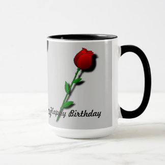 "Red Rose ""Happy Birthday"" Mug"