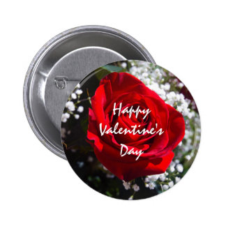 Red Rose Happy Valentine's Day Template Button