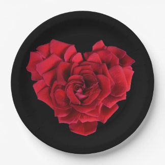 Red Rose Heart 9 Inch Paper Plate