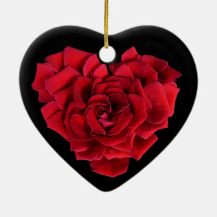 Red Rose Heart Christmas Ornament