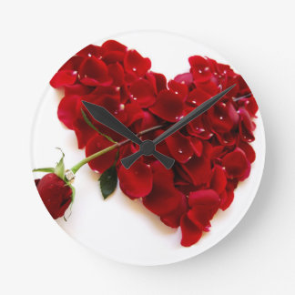 red rose heart wall clock