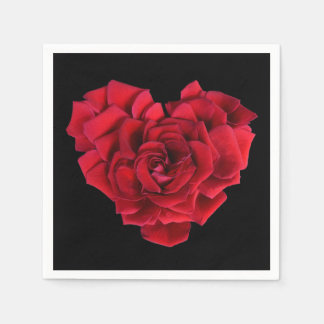 Red Rose Heart Disposable Serviette