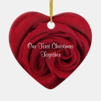 Red Rose Heart First Christmas Together Ornament
