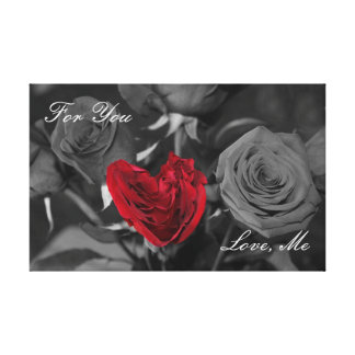 Red Rose Heart For You, Love Me Canvas Print