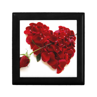 red rose heart small square gift box