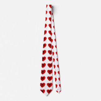 Red Rose Heart Pattern unisex Neck Tie