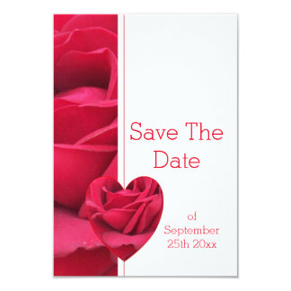 Red Rose Heart Save The Date Wedding 9 Cm X 13 Cm Invitation Card