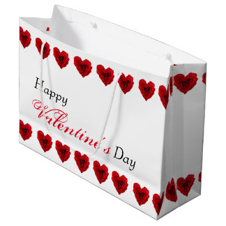 Red Rose Heart Shape Valentines Day Large Gift Bag