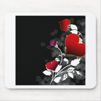 Red Rose Heart Stencil Mouse Pads