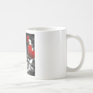 Red Rose Heart Stencil Coffee Mugs
