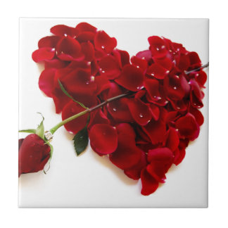red rose heart small square tile