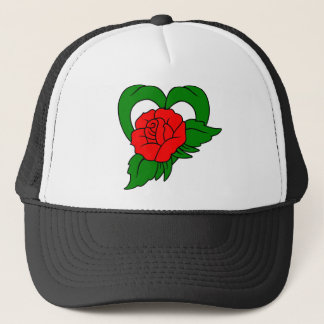 Red Rose Heart Trucker Hat
