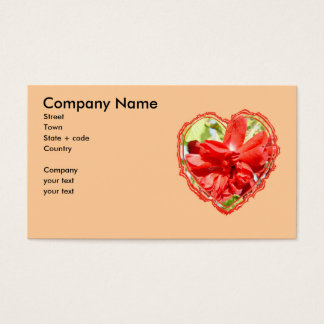 Red Rose Heart Valentine Business Card