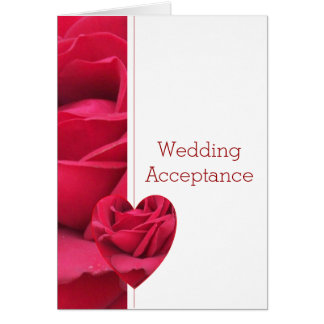 Red Rose Heart Wedding Acceptance Note Card