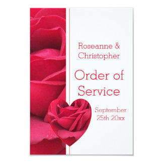 Red Rose Heart Wedding Order Of Service 9 Cm X 13 Cm Invitation Card