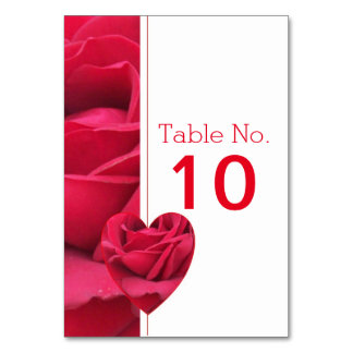 Red Rose Heart Wedding Table Setting Table Card