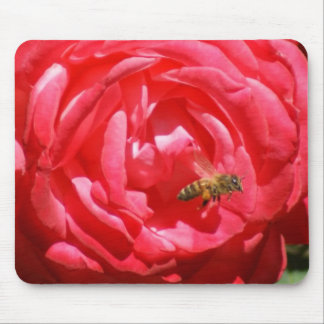 Red Rose Honey Bee Mouse Pad
