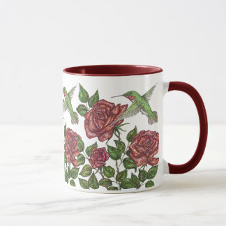 Red Rose & Hummingbird Mug