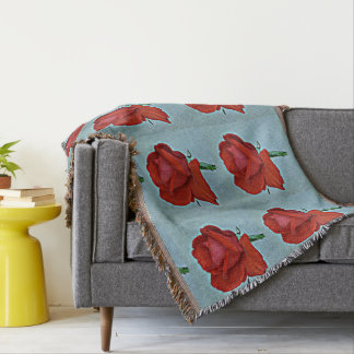 Red Rose in Blue Throw Blanket