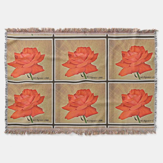 Red Rose in Tan Throw Blanket