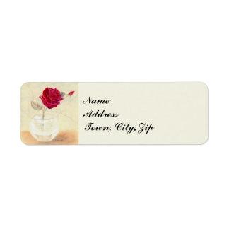 Red Rose in Vase Mailing Labels