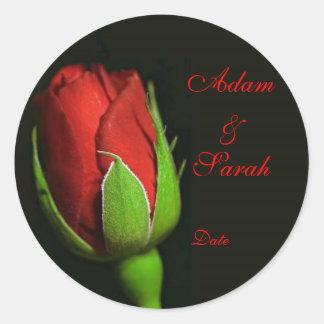 red rose, lapel rose, Adam & Sarah, Date Classic Round Sticker