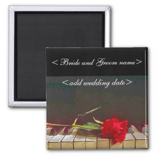 Red Rose Laying On Piano Keyboard Fridge Magnets